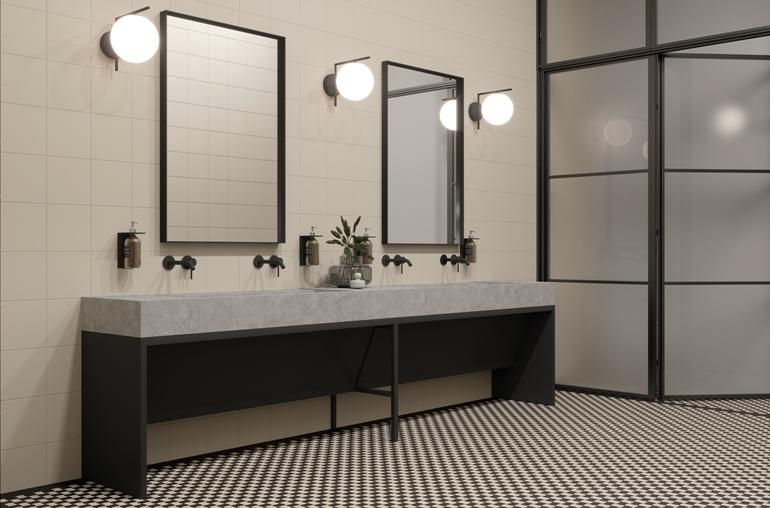Modernizm bianco ciety 19,8x19,8_ Nero mix C_nero 30,86x30,86_aranż głowny